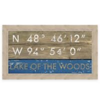 """Retro Style Framed """"Lake of the Woods"""" Map Coordinates Sign"""