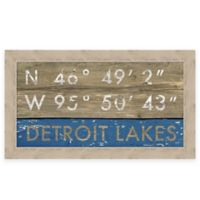 "Retro Style Framed ""Detroit Lakes"" Map Coordinates Sign"