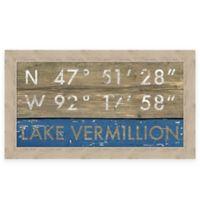 "Retro Style Framed ""Lake Vermillion"" Map Coordinates Sign"