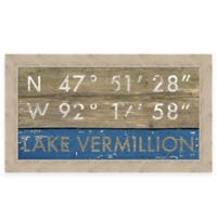 "Retro Style Framed ""Lake Vermillion"" Map Coordinates Sign"