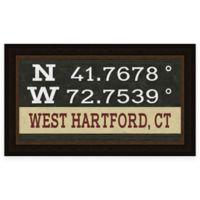 West Hartford, Connecticut Coordinates Framed Giclee Wall Art