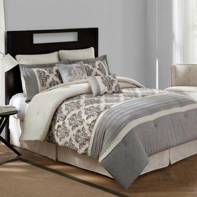 bridge street warwick textured cotton linen 8piece full comforter set in natural