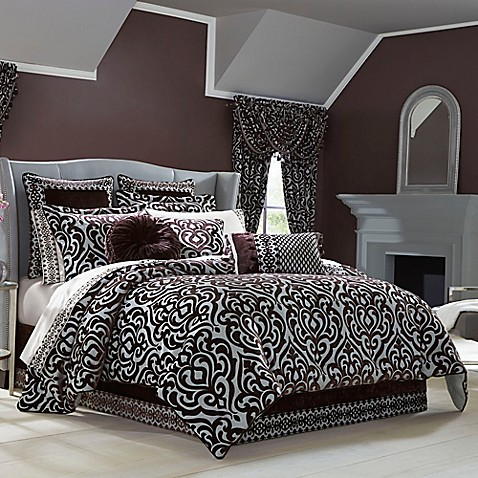 J queen new york sicily comforter set in plum bed bath - Bed bath and beyond bedroom furniture ...