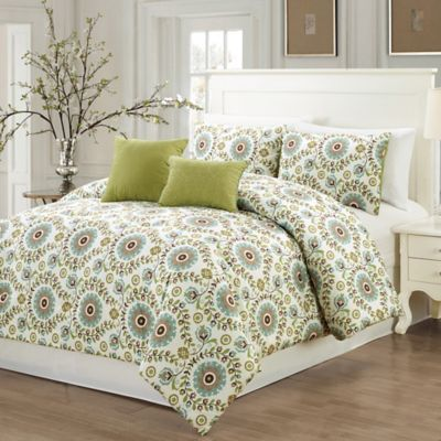 Good Welford 5 Piece King Comforter Set In Sage/Ivory