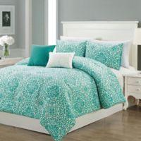 Elyse 5-Piece King Comforter Set in Teal/Ivory