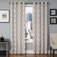 Softline Booker 84-Inch Embroidered Grommet Top Window Curtain Panel in Latte