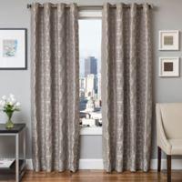 Softline Dante 84-Inch Jacquard Grommet Top Window Curtain Panel in Grey