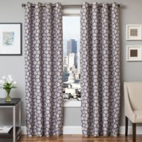 Softline Dante 96-Inch Jacquard Grommet Top Window Curtain Panel in Sapphire Blue
