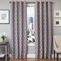 Softline Dante 84-Inch Jacquard Grommet Top Window Curtain Panel in Sapphire Blue