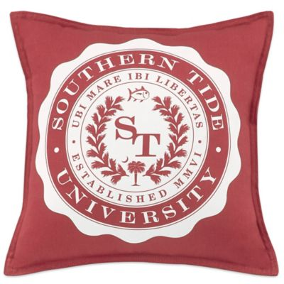 southern tide skipjack chino university throw pillow in red
