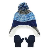 Capelli New York Striped Infant Hat and Mitten Set in Blue