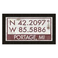 Portage MI Coordinates Framed Wall Art