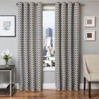 Softline Hallie 96-Inch Jacquard Grommet Top Window Curtain Panel in Midnight Black
