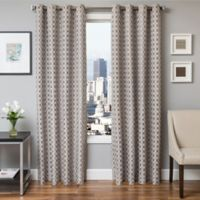 Softline Hallie 84-Inch Jacquard Grommet Top Window Curtain Panel in Silver