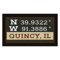 Quincy, IL, Coordinates Framed Wall Art