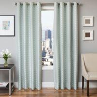 Softline Hallie 96-Inch Jacquard Grommet Top Window Curtain Panel in Spa