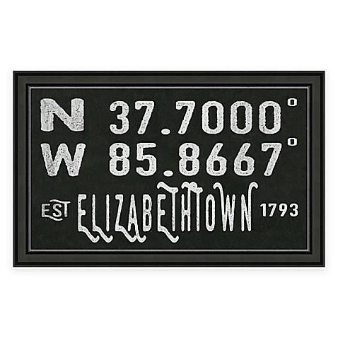 Elizabethtown Kentucky Coordinates Framed Wall Art Bed