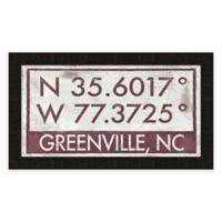 Greenville, NC, Coordinates Framed Wall Art