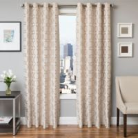 Softline Lander 96-Inch Jacquard Grommet Top Window Curtain Panel in Natural