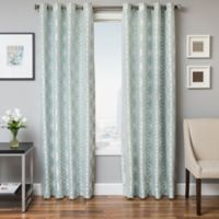 Softline Paloma 84-Inch Jacquard Grommet Top Window Curtain Panel in Spa