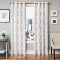 Softline Quinn 84-Inch Embroidered Grommet Top Window Curtain Panel in Silver
