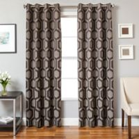 Softline Tribeca 84-Inch Jacquard Grommet Top Window Curtain Panel in Gunmetal