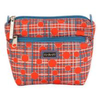 Hadaki Vegan Leather Double Zip Pouch in Red Plaid