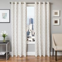 Softline Trask 84-Inch Embroidered Grommet Top Window Curtain Panel in Champagne