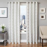 Softline Trask 84-Inch Embroidered Grommet Top Window Curtain Panel in Haze