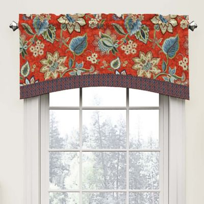 Lovely Waverly Brighton Blossom Arch Valance In Red