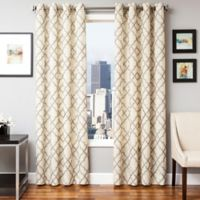 Softline Zenon 84-Inch Embroidered Grommet Top Window Curtain Panel in Latte