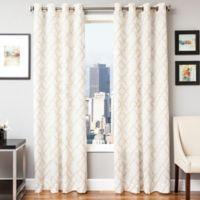 Softline Zenon 96-Inch Embroidered Grommet Top Window Curtain Panel in Champagne