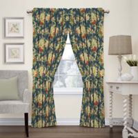 Waverly Sanctuary Rose 63-Inch Rod Pocket Window Curtain Panel in Heritage Blue