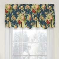Waverly Sanctuary Rose Peek-A-Boo Cotton Valance in Heritage Blue