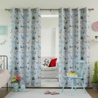 Decorinnovation Alphabet 63-Inch Room Darkening Grommet Top Window Curtain Panel Pair in Blue