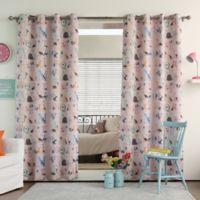 Decorinnovation Alphabet 84-Inch Room Darkening Grommet Top Window Curtain Panel Pair in Pink