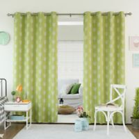 Decorinnovation Arrow 84-Inch Room Darkening Grommet Top Window Curtain Panel Pair in Green Tea