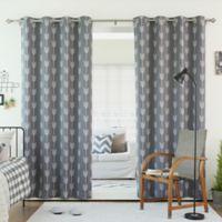 Decorinnovation Arrow 84-Inch Room Darkening Grommet Top Window Curtain Panel Pair in Grey