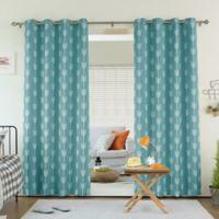 Decorinnovation Arrow 96-Inch Room Darkening Grommet Top Window Curtain Panel Pair in Ocean