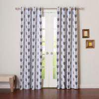 Decorinnovation Arrow 84-Inch Room Darkening Grommet Top Window Curtain Panel Pair in White