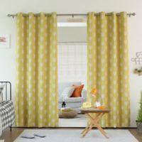 Decorinnovation Arrow 84-Inch Room Darkening Grommet Top Window Curtain Panel Pair in Yellow