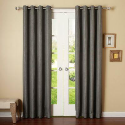 Decorinnovation Basketweave 84 Inch Room Darkening Grommet Top Curtain Panel Pair In Dark Grey