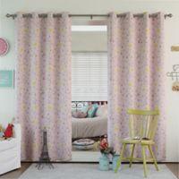 Decorinnovation Bunny 84-Inch Room Darkening Grommet Top Window Curtain Panel Pair in Pink