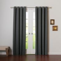 Decorinnovation Graph Check 84-Inch Room Darkening Grommet Top Window Curtain Panel Pair in Grey