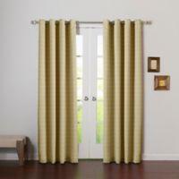 Decorinnovation Graph Check 84-Inch Room Darkening Grommet Top Window Curtain Panel Pair in Beige