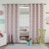 Decorinnovation Clouds 63-Inch Room Darkening Grommet Top Window Curtain Panel Pair in Pink