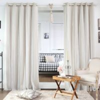 Decorinnovation Dotted Lace Overlay 96-Inch Blackout Grommet Top Curtain Panel Pair and Tie Backs