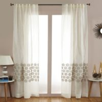 India's Heritage Jute Swirl 84-Inch Rod Pocket Sheer Window Curtain Panel in White