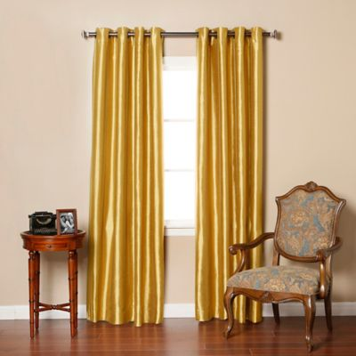Decorinnovation Solid Faux Silk 84 Inch Blackout Grommet Top Window Curtain  Panel Pair In Gold