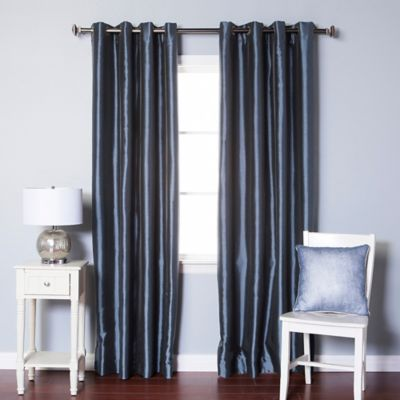 Decorinnovation Solid Faux Silk 84 Inch Blackout Grommet Top Window Curtain  Panel Pair In Navy